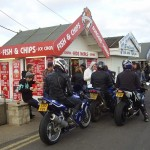 Hell's Angels eating fish 'n chips