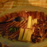 Plate of various sausages and cheese