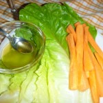 Salad and carrots with honey to cleanse the palate