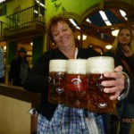 This woman had SKILLS!!! I think she had 10 steins!