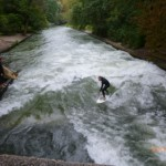 Surfing the waves in the Eisbach