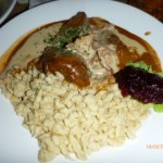 Elk with typical mushroom cream sauce and spätzle